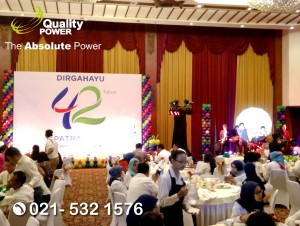 Rental Sound System supported by Quality Power 42th Anniversary Patra Jasa at Patra Jasa Building Jakarta, 24 July 2017.